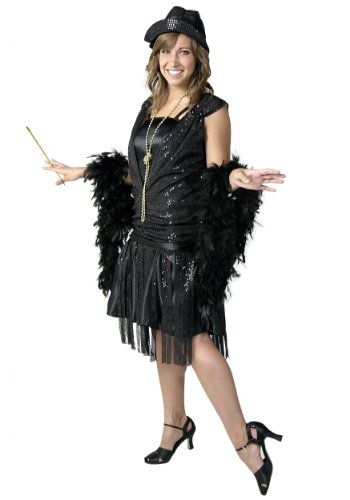 Womens Jazz Flapper Costumes (Plus Size Black Jazz Flapper Costume 3X)