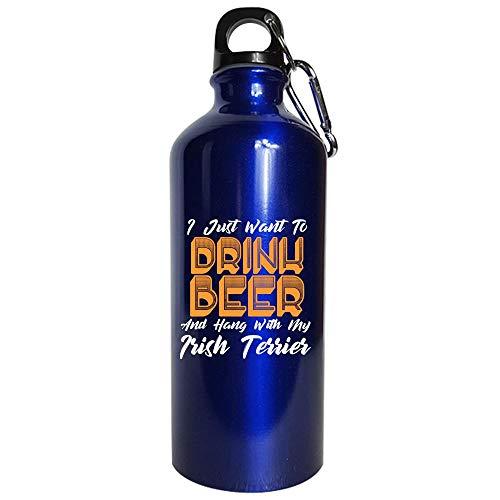 Drink Beer And Hang With My Irish Terrier - Water Bottle Metallic Blue