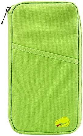 vanessasa_JPパスポートケーススキミング防止 パスポートバッグ 防水 パスポートカバー 多機能収納ポケット 航空券 クレジットカード 小銭 紙幣 カード 小銭 ペン 鍵など収納可 大容量 トラベルウォレッド 7色選択可能 (グリーン)