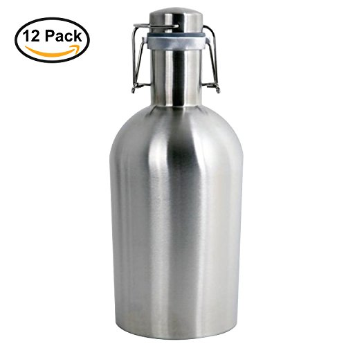 Thirsty Rhino Remba, 64 oz Stainless Steel Beer Growler Jug, Brushed Silver (Set of 12) by Thirsty Rhino
