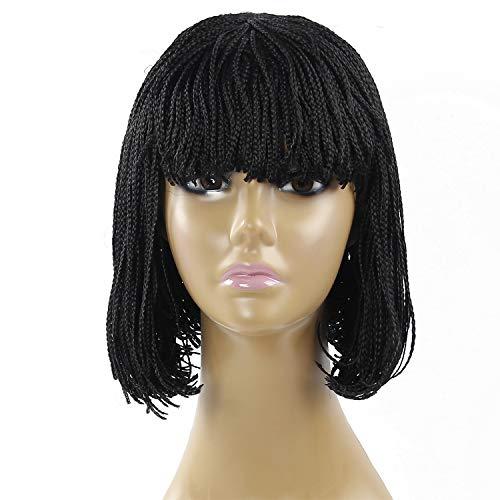 12 Inch Synthetic Braided Wig Short Bob Wigs Natural Black Hair Wig Micro Box Braid Short Wigs for Black Women(12 Inch, Natural Black)