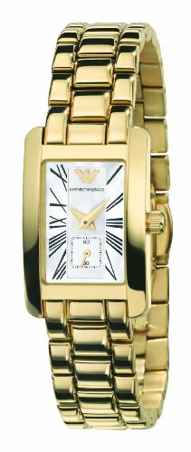Emporio Armani Ladies Gold Plated Stainless Steel Bracelet Watch with White Mother Of Pearl Dial