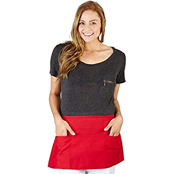 Natural Uniforms Commercial Waist Apron-Multi-Pockets-Set of 2 (2, Red)
