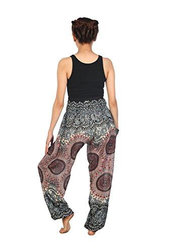 Pilates Harem 2 Waist Pantaloni Smocked Rose Yoga Boho Donna Lofbaz Bianco Colorato Onf6Fwq