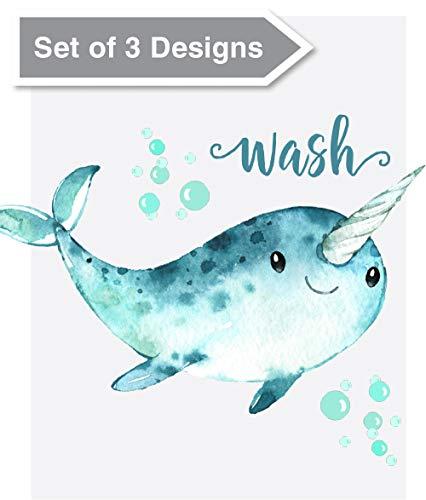 Confetti Fox Kids Bathroom Wall Art Decor - Wash Brush Flush - 8x10 Unframed Set of 3 Prints - Dolphin Shark Whale Baby Sea Animals