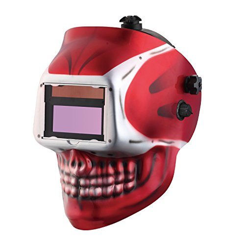 KOOLWOOM Solar Power Auto Darkening Welding Helmet SKULL designed with 2 Arc Sensors & Two Shade Ranges 5-8/9-13 with Grinding Feature Extra lens covers Good for TIG MIG MMA Plasma