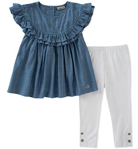 Calvin Klein Cotton Tunic - Calvin Klein Little Girls' Tunic Set, Blue/White, 5