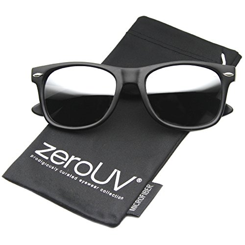 zeroUV ZV-8025-07 Retro Matte Black Horned Rim Flash Colored Lens Sunglasses, Black/Grey, 50mm