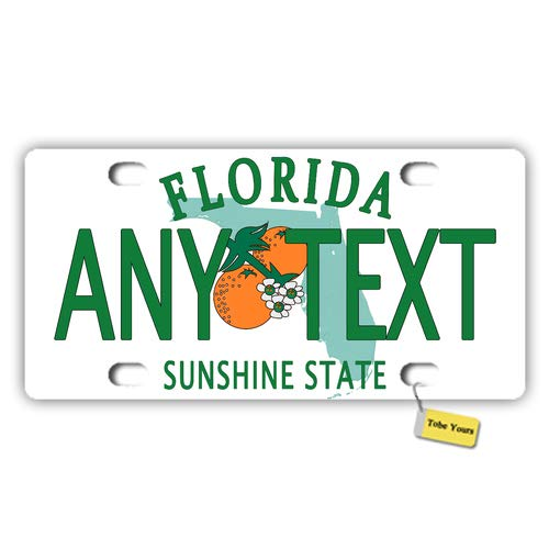 Tobe Yours US 50 States Personalized Custom Any Text/Name/Photo/Image - Florida Sunshine State Printed Customized Auto Car Tag Metal License Plate Cover Frame Car for $<!--$14.99-->