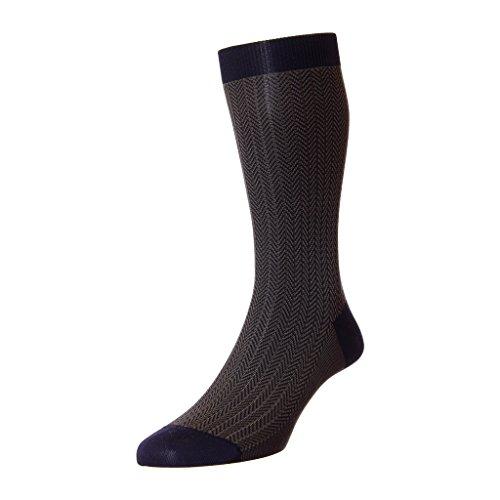 Pantherella Fabian Herringbone Mid-Calf Men's Dress Socks (5311-NAVY-M) ()