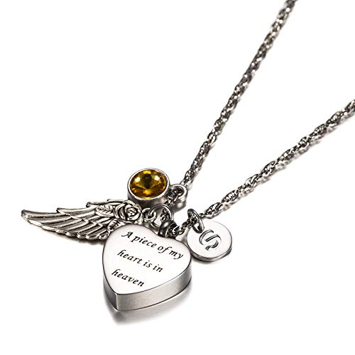 KnSam Urns Necklace A Piece of My Heart in Heaven Stainless Steel Heart Urn Necklace with Angel Wing, 26 Letters & 12 Birthstones Creamation Ash Necklace-November S (10 Year Anniversary Letter To My Wife)