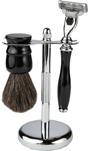 3 Piece Shaving Set With Mach 3 Heavyweight Handle, 100% Badger Brush, With All metal Textured Chrome Classy Stand (Matching Black) by Boss Razors