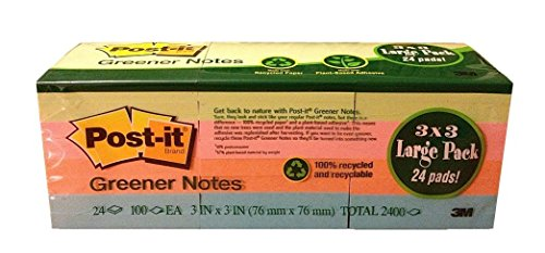 3M Post-it Notes Greener Notes Pad 100% recycled recyclable 3x3 In, Assorted Colors, Large Pack, 24 Pads per Pack Total 2400 (Sticky Super Recycled Post)