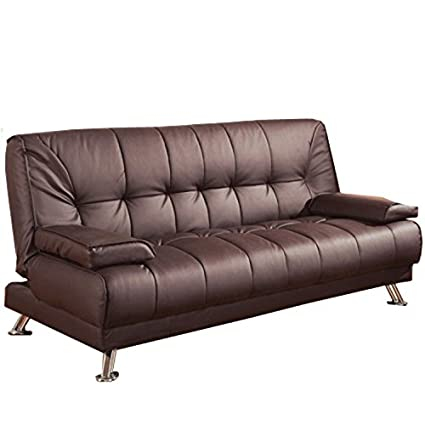 Amazon.com: Convertible Sofa Bed with Removable Armrests Brown ...