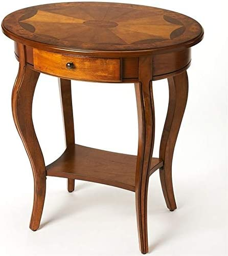 Beaumont Lane Oval Wood Accent Table in Olive Ash Burl