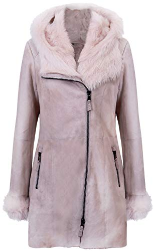 Infnity Leather Women's Off-White Frost Grey Hooded Suede Merino Shearling Sheepskin Jacket 4XL