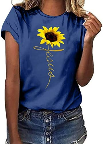 Wadonerful Summer T-Shirt for Women Sunflower Printed Tee Shirts Crew Neck Short Sleeve Casual Tops Blouse