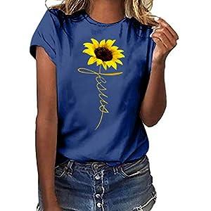 Canifon Women's T-Shirts Short Sleeve Crew Neck Casual Blouses Sunflower Print Plus Size Loose Summer Retro Tunic Tops