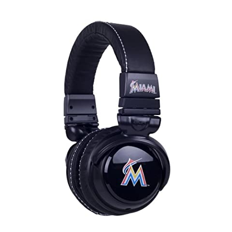 BiGR Audio MLB Licensed Over-ear Headphones with Mic, Miami Marlins (Bigr Audio Cable)