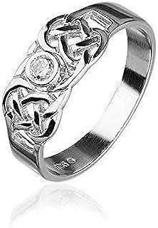 Ortak Tradizionale Scozzese Celtico Knotwork Design Anello in Argento Sterling con Zirconia cubica e Argento, 50 (15.9), Colore: Silver, cod. Ortak-CR159-K