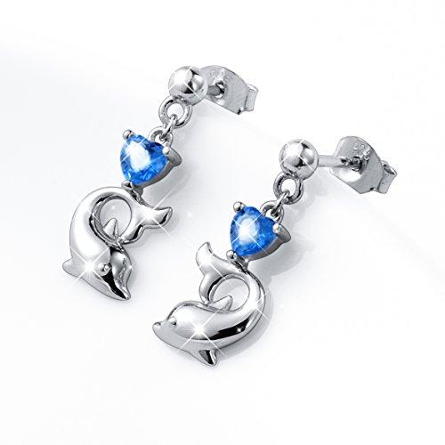 LINLIN FINE JEWELRY 925 Sterling Silver Cubic Zirconia Blue Cz Heart Dolphin Stud Earrings for Women by LINLIN FINE JEWELRY (Image #2)