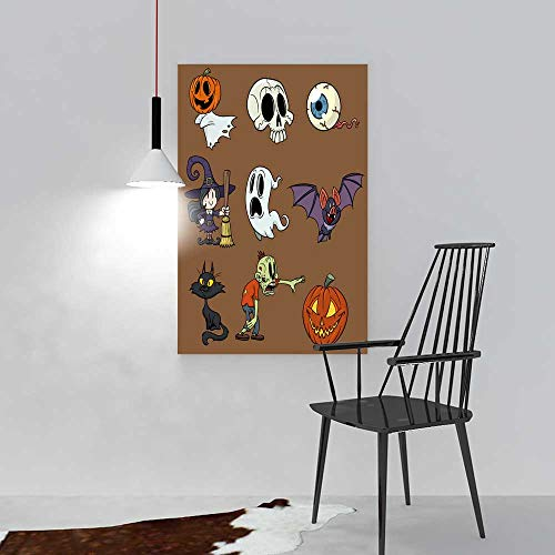 Hanging Wall Decoration Painting Cartoon Halloween Elements All in Separate Layers for Easy Editing for Living Room Office Hotel Frameless W20 x H40 -