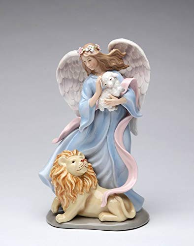Cosmos Gifts Fine Porcelain Inspirational Eternal Peace Angel Holding Lamb with Lion Music Box Figurine (Tune: The Whole New World), 8-1/4
