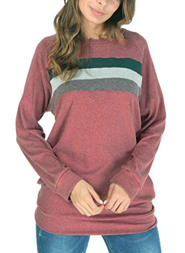 She's Style Women's Cotton Knitted Long Sleeve Round Neck Loose Casual Lightweight Tunic Sweatshirt Tops Color 5 Size M