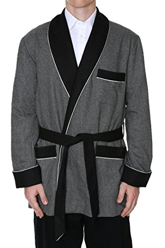 Men's Smoking Jacket Octavius Gray Medium by Duke & Digham