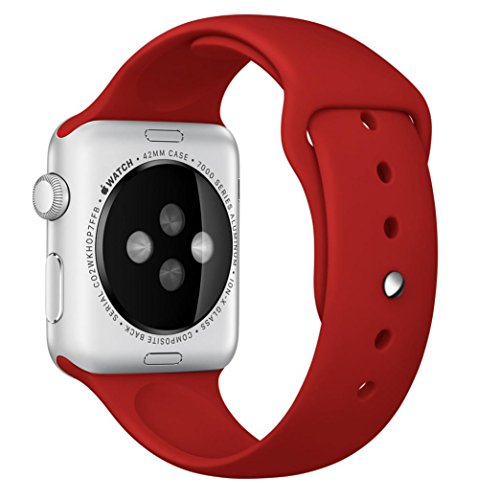 UPC 643485269007, Size S/M 42mm Apple Watch Band, Perman Sports Comfort Smooth Silicone Replacement Smart Watch Bracelet Strap Band Watchband Red