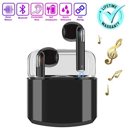 Wireless Earbuds,Bluetooth Earbuds Wireless Earphones Noise Cancelling with Mic Charging Case,Sport Running Mini True Stereo Earbuds Bluetooth Compatible iOS Android Samsung Huawei Phones X 8 7 (Best Bluetooth For Phone 2019)