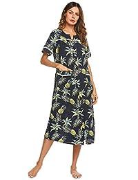 Ekouaer Women's Short Sleeve Sleepwear Snap Front House Duster Long Nightgown S-XXL