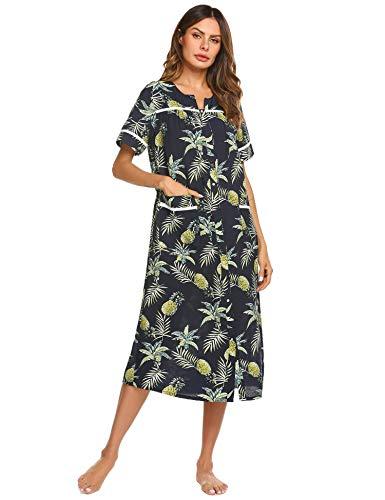 (Ekouaer Nightshirts Women's Cotton Knit Sleepwear Short Sleeve Long Lounger Wear (Pattern,S))