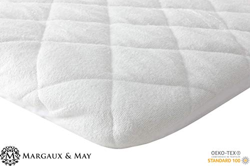 Waterproof Mini Crib Mattress Protector Pad from Ultra Soft Bamboo Rayon by Margaux & May - Fits Pack N Play, Dream on Me, Playard & Foldable Mattresses. Dryer Safe, Quiet, Breathable 27 x 39 inches ()