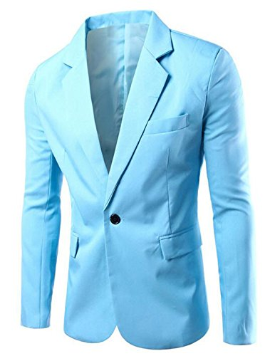 Generic Mens Slim Fit Casual Premium Blazer Jacket Casual Blazers Light Blue US XL (Men Blazer Light Blue compare prices)