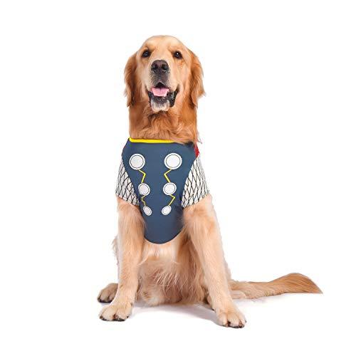 Thor Dog Halloween Costume (Marvel Comics Thor Costume for Dogs, | Halloween Costume for All Large)