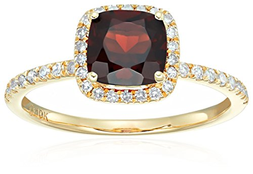 10k Yellow Gold Red Garnet and Diamond Cushion Halo Engagement Ring (1/4cttw, H-I Color, I1-I2 Clarity), Size 7 by Amazon Collection