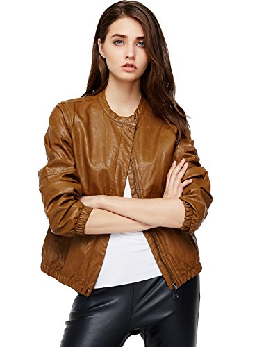x Leather Jacket Zipper Biker Bomber Coat Brown M (Ladies Leather Zipper Jacket)