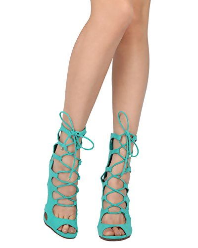 Breckelles Women Faux Suede Gladiator Sandal - Dressy, Formal, Costume - Lace Up Stiletto - GF02 by Aqua