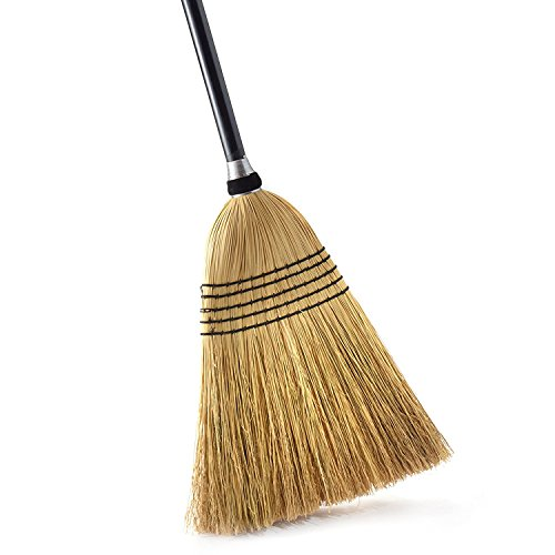O-Cedar Heavy Duty Commercial 100% Corn Broom with Solid Wood Handle - 100% Corn Broom