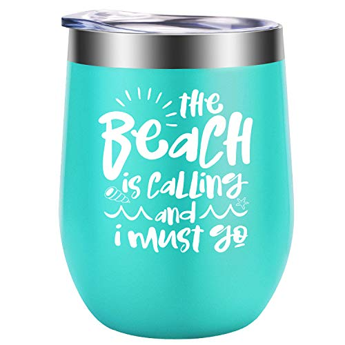 Beach Themed Birthday (The Beach is Calling and I Must Go - Beach Summer Gifts for Women - Funny Cool Vacation Birthday, Lake, Sea Themed Wine Gift for Girls, Best Friend, BFF, Grandma,)