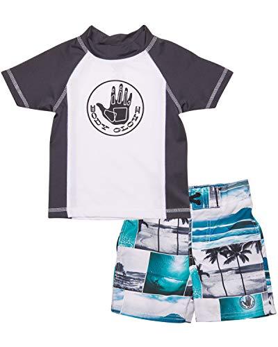 Body Glove Little Boys 2-Piece Rash Guard Swimsuit Set, White Beach, Size 2T'
