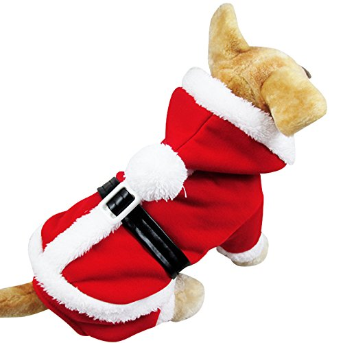 Gimilife Christmas New Year Pet Santa Claus Costume with Hat Cockapoo Dog Jumpsuit Outfit Pet Winter Warm Custume Coat Funny Party Cosplay for Small Medium Large Dogs (Dog Santa Costumes)