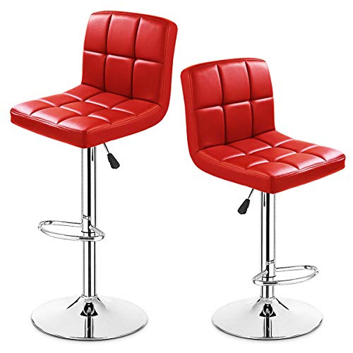 (COSTWAY Barstool, Modern Swivel PU Leather stools Adjustable Height Set of 2 (Red))