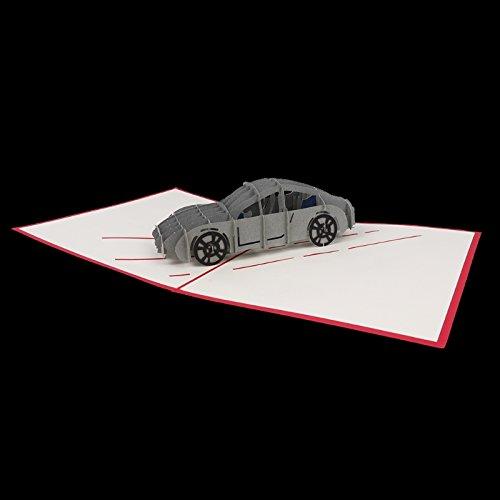 Kofun - Tarjeta de felicitación con sobre, 3d coche Pop Up feliz Navidad tarjetas de felicitación de año nuevo tarjetas de invitación de cumpleaños Creative ...