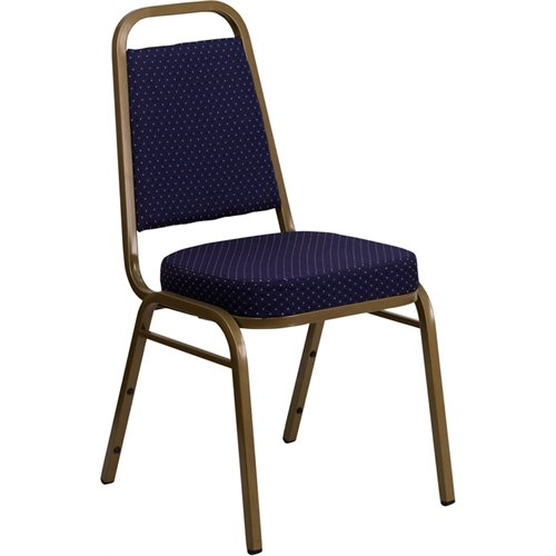 ULES Series Trapezoidal Back Stacking Banquet Chair in Navy Patterned Fabric - Gold Frame (Navy Stacking Chair)