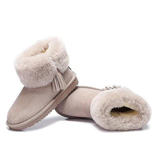 Scarponi Da Neve Nappa Color Cammello Con Calda Pelliccia Grigia