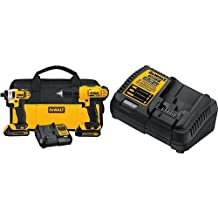 DEWALT DCB115 MAX Lithium Ion Battery Charger, 12V-20V & DEWALT 20-Volt Max Compact Lithium-Ion Cordless Combo Drill Kit