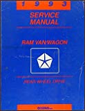 1993 Dodge Ram Van & Wagon Repair Shop Manual Original B100-B350
