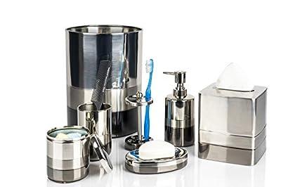 nu steel TR-7PC/SET Triune Elegant Decoration Collection Bathroom 7-Piece Accessories Set, Platinum